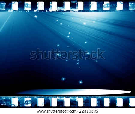 stage with spotlight on a blue background - stock photo