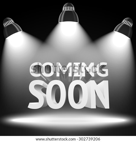 Stage with the spot light projectors lightning the -Coming Soon- message for your business, presentations, offers etc. - stock photo