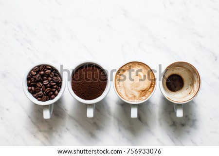 Stages of preparing cappuccino