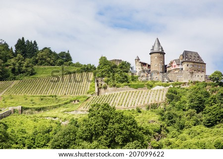 Stahleck Castle (Burg Stahleck) in Bacharach, Germany - stock photo
