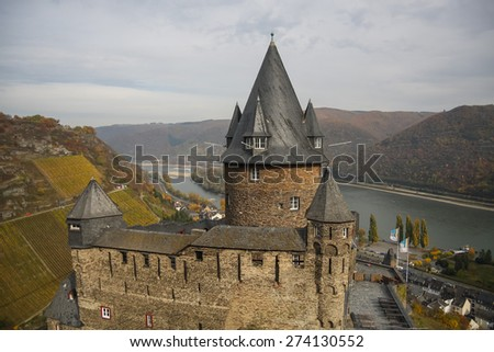 Stahleck castle in Bacharach, Rhine Valley, Germany - stock photo