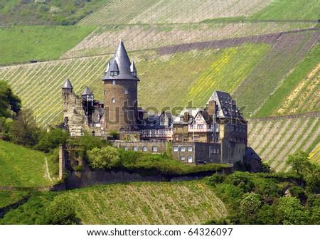 Stahleck Castle, Rhine Valley, Germany, UNESCO - stock photo