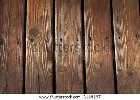 Stained cedar planks - stock photo