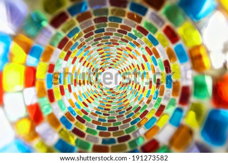 Stained-glass background, real photo - not 3D. Textured, some glass elements have cracks - stock photo