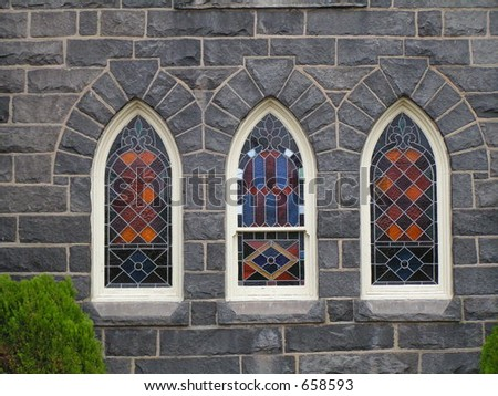 Stained Glass Church Windows - stock photo