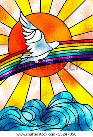 Stained glass composition showing a white dove flying over a rainbow and a bright sun. Digital illustration. - stock photo
