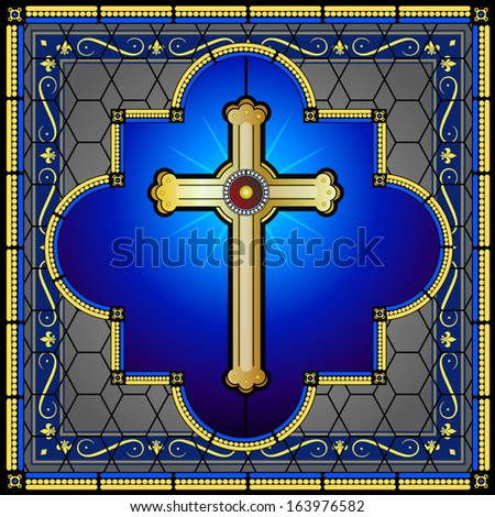 Stained glass cross on decorative bordered background - stock photo