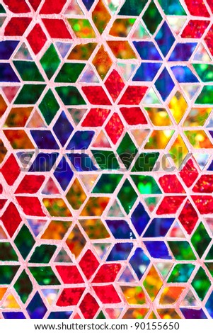 stained glass decorate the wall - stock photo
