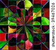Stained Glass Flower Abstract - stock photo