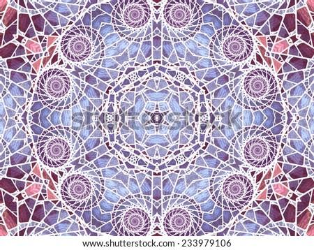 Stained glass fractal mandala, digital artwork for creative graphic design - stock photo
