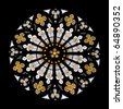 stained glass gothic window in church isolated on black - stock photo