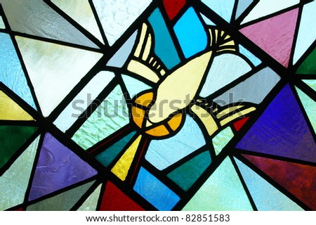 Stained Glass - Holy Spirit - stock photo