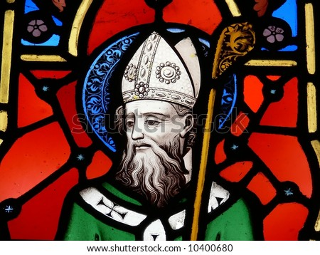 Stained Glass image of St. Patrick - stock photo