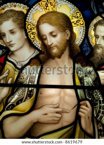 Stained glass in Catholic church in Dublin showing resurrected Jesus