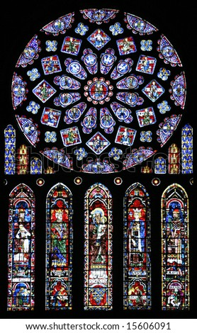 Stained glass in Chartres Cathedral France - stock photo