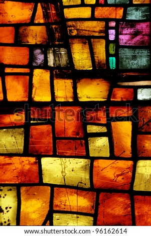 Stained Glass, Manchester Cathedral - stock photo