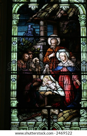 Stained Glass of the Birth of Christ - stock photo