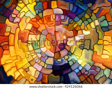 Stained Glass Pattern series. Abstract arrangement of virtual stained glass fragments suitable as background for projects on art, craft and design - stock photo