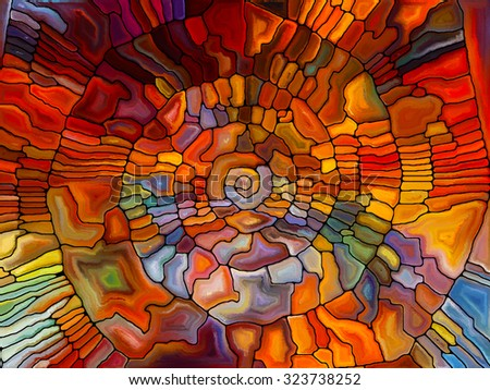 Stained Glass Pattern series. Visually pleasing composition of virtual stained glass fragments to serve as  background in works on art, craft and design - stock photo
