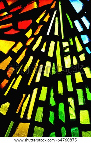 stained glass showing pattern and colors - stock photo