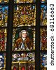Stained glass window depicting J.S. Bach, St. Thomas Church, Leipzig, Germany - stock photo