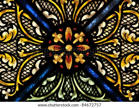 Stained glass window design detail - stock photo