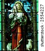Stained glass window in a church. - stock photo