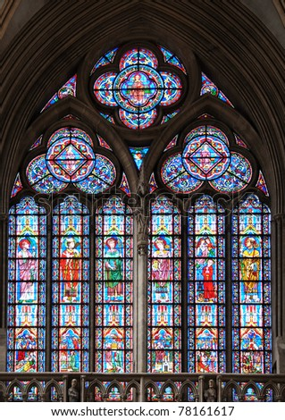 Stained glass window in cathedral of Bayeux, Normandy, France - stock photo
