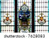 Stained glass window in Dunedin Train Station - stock photo