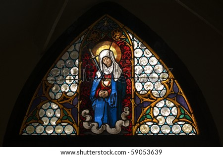 Stained glass window in Krems cathedral, Lower Austria, Europe
