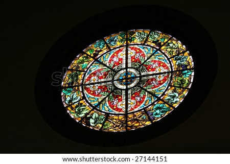 Stained glass window in Riga Dome Cathedral (Latvia) - stock photo