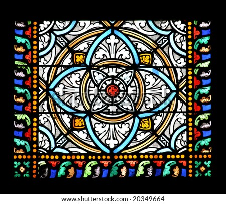 Stained glass window in St.Samson cathedral, Dol-de-Bretagne, France. - stock photo