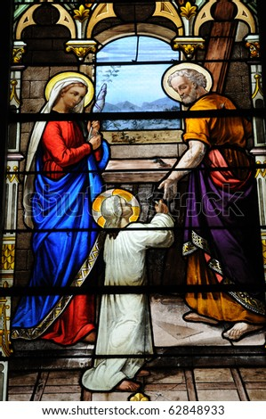 stained glass window in the church of Houlgate in Normandy
