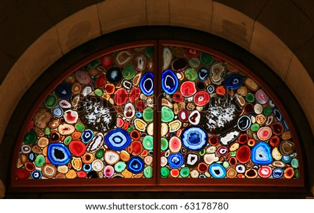 Stained-glass window in the Grossmunster (Zurich, Switzerland). - stock photo