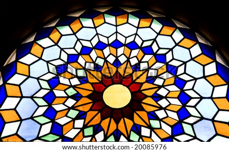 Stained glass window in the Mezquita cathedral in Cordoba, Spain, Andalusia - stock photo