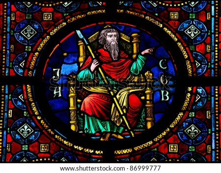 Stained glass window in the Notre Dame church of Dinant, Belgium, depicting Jacob, the third Hebrew patriarch and ancestor of the tribes of Israel. - stock photo