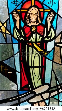 Stained glass window of Ascension of Jesus Christ into Heaven - stock photo