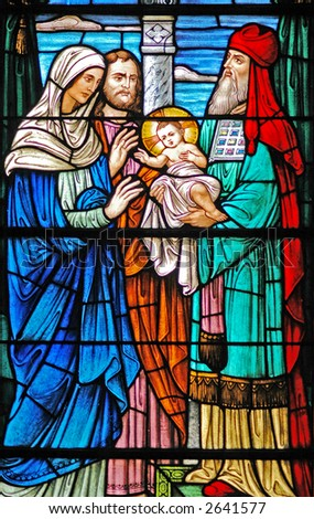 Stained glass window of  baby Jesus / 3 Wise Men from 1899