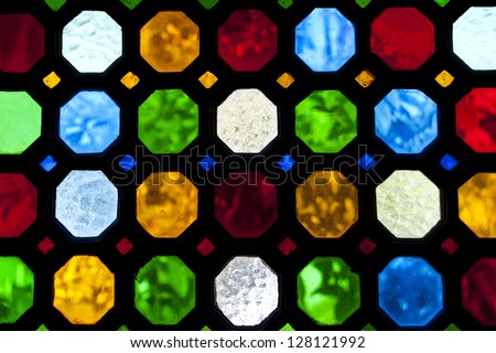 stained glass window of colored glass - stock photo