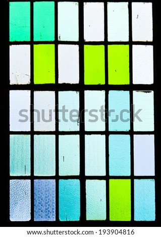 Stained glass window of colored glass in Istanbul railway station. - stock photo