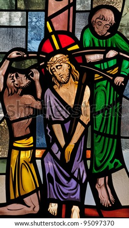 Stained glass window of crucifixion of Jesus Christ - stock photo