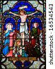Stained Glass Window - Old St Paul's, Wellington, New Zealand - stock photo