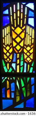 Stained glass window representing wheat - stock photo