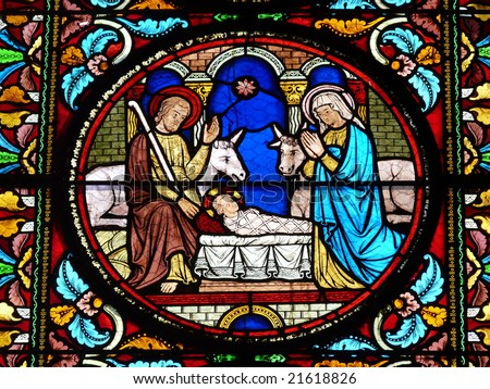 Stained glass window showing a Nativity Scene - stock photo