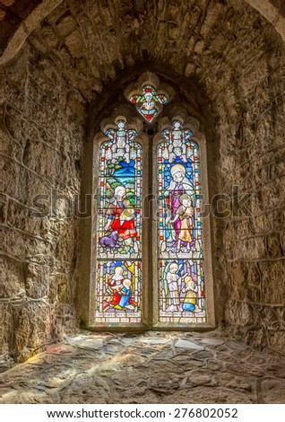 Stained glass windows in St S Michaels mount church. Cornwall England uk - stock photo