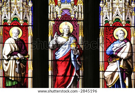 stained glass windows of a god - stock photo