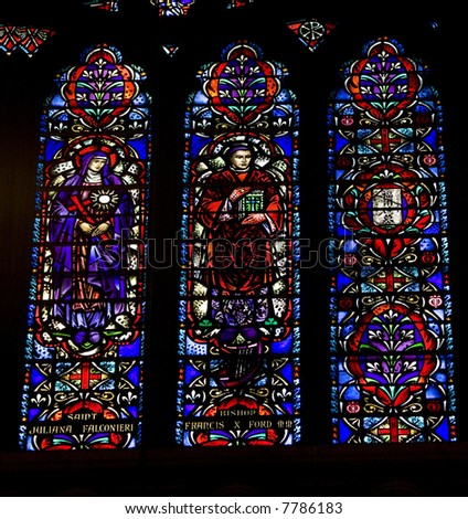 Stained glass windows.   St.Patrick's Cathedral in New York