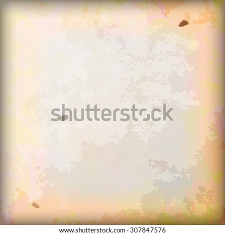 Stained grungy paper background. Multicolored, with aged effect. - stock photo