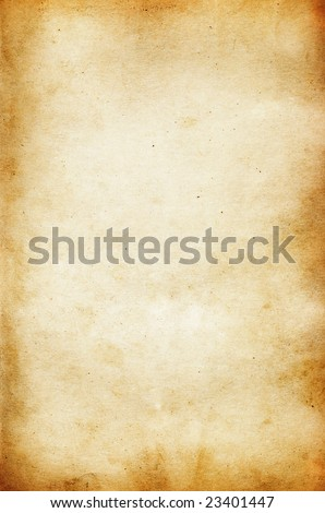 Stained handmade paper texture with dark borders