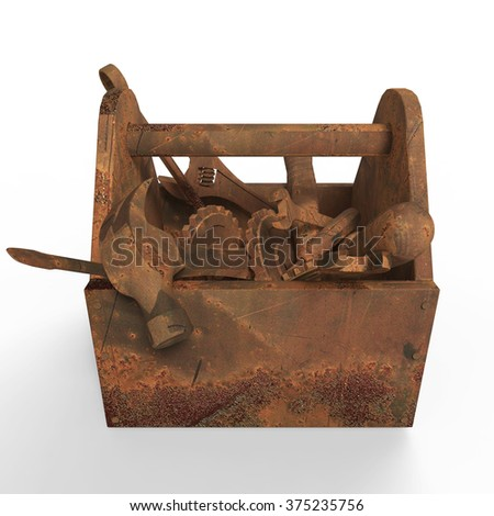 stained worn-out toolbox with rusty tools, wrench, spanner, hammer, screwdriver.  3d rendering. illustration bad fix, mad-max, fallout, post apocaliptic  maintenance, danger unauthorised service - stock photo